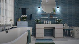 bathroom, blue, tile
